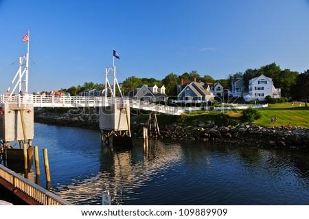 Nice wooden houses, Perkins Cove,Maine, USA - stock photo