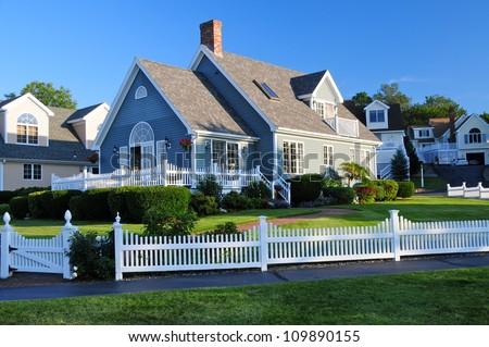 Nice Wooden houses, Perkins Cove, Maine, USA - stock photo