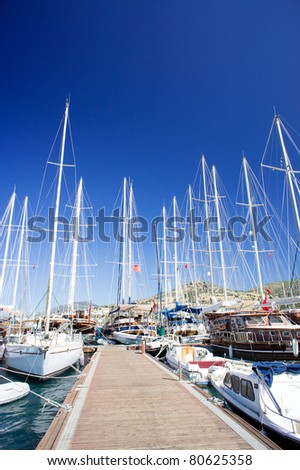 Nice yachts on an anchor in harbor. Bodrum. Turkey. - stock photo