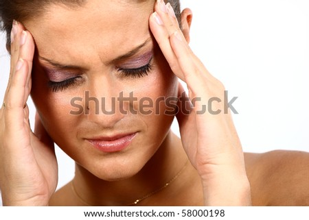 Nice young adult woman with bad headache - stock photo