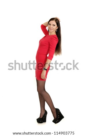nice young girl posing on a white background - stock photo