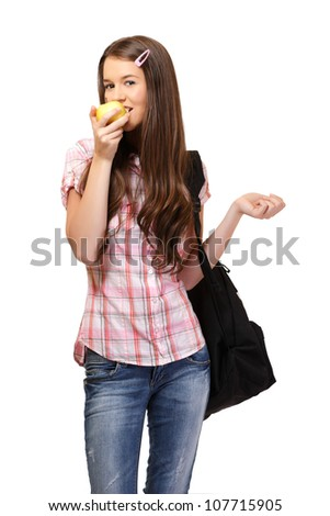 nice young woman bite an apple, isolated on white - stock photo