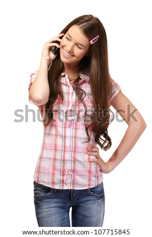 nice young woman making a call with her girlfriend - stock photo