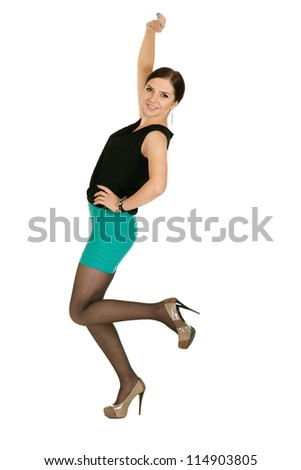 nice young woman posing on light background - stock photo