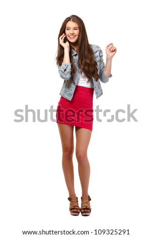 nice young woman speaking on phone in studio