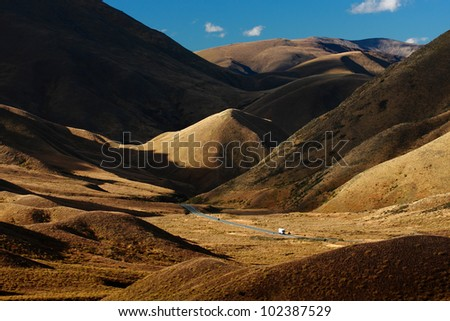 Nicely Complicated Mountain, Lindis Pass, New Zealand - stock photo