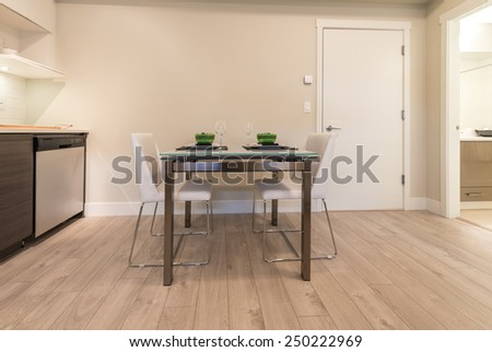 Nicely decorated and served living, lunch, dining room table. Interior design. - stock photo