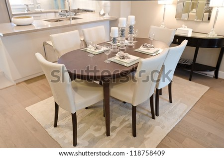 Nicely decorated and served living ( lunch ) room table. - stock photo