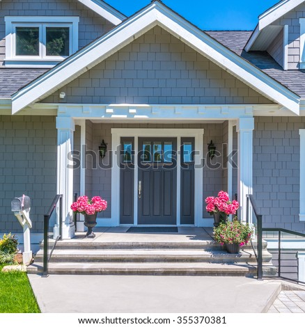 Nicely decorated house entrance. - stock photo