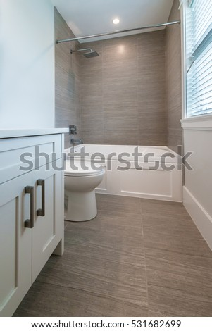 Nicely decorated modern washroom, bathroom, with the toilet sit, sink. Interior design.