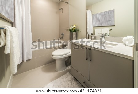 Nicely decorated modern washroom, bathroom, with the toilet sit, sink, some plants on the counter. Interior design. - stock photo