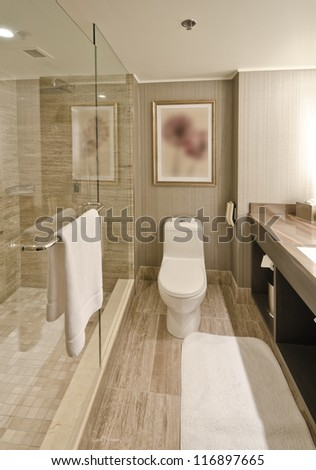 Nicely decorated modern washroom with the toilet and towels - stock photo