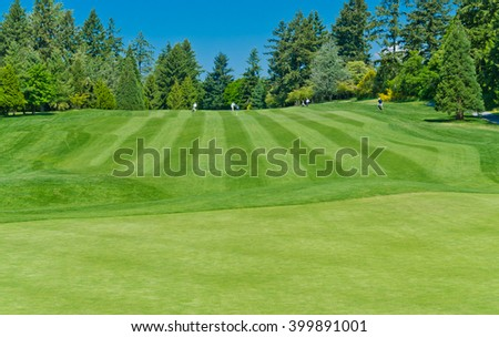 Nicely trimmed golf course field.  Vancouver, Canada.