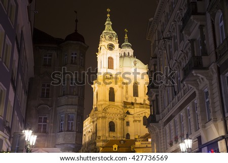 Nicholas Church in Mala Strana or Lesser side, beautiful old part of Prague, Czech Republic (Night view)      - stock photo