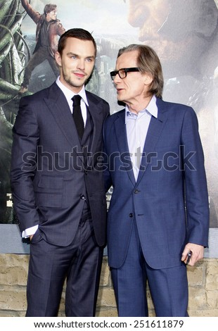 "Nicholas Hoult and Bill Nighy at the Los Angeles Premiere of ""Jack The Giant Slayer"" held at the TCL Chinese Theater in Hollywood, California, United States on February 26, 2013.  - stock photo"