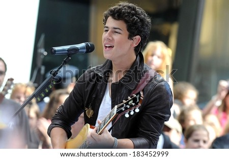 Nick Jonas at talk show appearance for NBC Today Show Concert with The Jonas Brothers, Rockefeller Plaza, New York, NY June 19, 2009  - stock photo