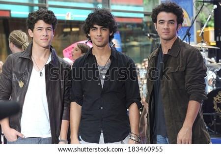 Nick Jonas, Joe Jonas, Kevin Jonas at talk show appearance for NBC Today Show Concert with The Jonas Brothers, Rockefeller Plaza, New York June 19, 2009 - stock photo