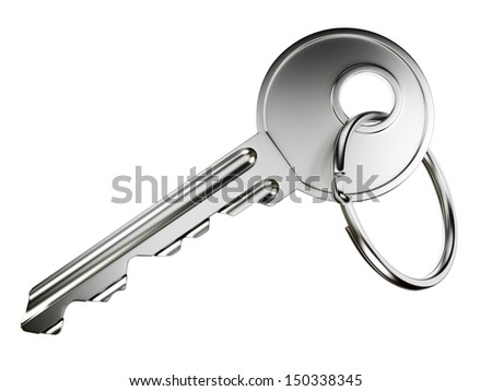 Nickel door key with ring isolated on white background - stock photo