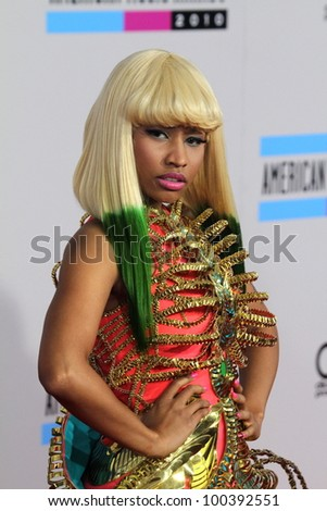 Nicki Minaj  at the 2010 American Music Awards Arrivals, Nokia Theater, Los Angeles, CA. 11-21-10 - stock photo