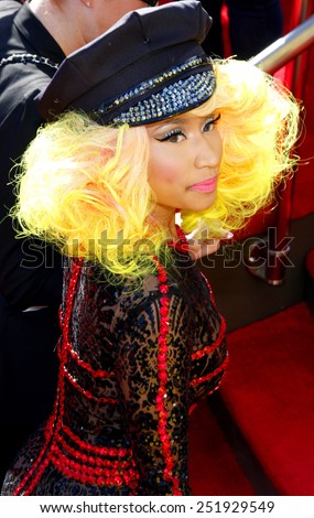 Nicki Minaj at the 2012 MTV Video Music Awards held at the Staples Center in Los Angeles, United States on September 6, 2012.  - stock photo