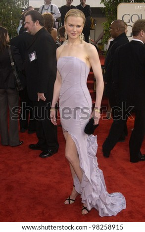 NICOLE KIDMAN at the Golden Globe Awards at the Beverly Hills Hilton Hotel. 19JAN2003.  Paul Smith / Featureflash - stock photo