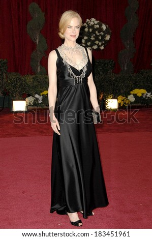 Nicole Kidman, in a Balenciaga dress and L'Wren Scott necklace, at Part 2-RED CARPET-80th Annual Academy Awards Oscars Ceremony, The Kodak Theatre, Los Angeles, February 24, 2008 - stock photo