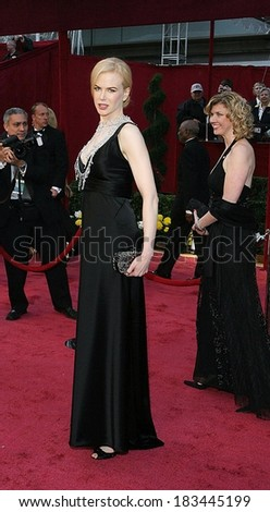 Nicole Kidman, in a Balenciaga dress, L'Wren Scott necklace, and carrying a Bottega Veneta clutch, at RED CARPET-80th Annual Academy Awards Oscars Ceremony, The Kodak Theatre, LA, Febr 24, 2008 - stock photo