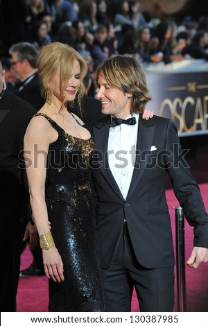 Nicole Kidman & Keith Urban at the 85th Academy Awards at the Dolby Theatre, Hollywood. February 24, 2013  Los Angeles, CA Picture: Paul Smith - stock photo