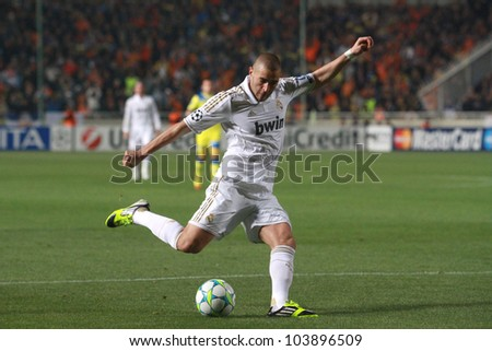 NICOSIA,CYPRUS - MARCH 27: Karim Benzema of Real Madrid during the UEFA Champions League quarter-final match between APOEL and Real Madrid at GSP Stadium on March 27, 2012 in Nicosia, Cyprus. - stock photo