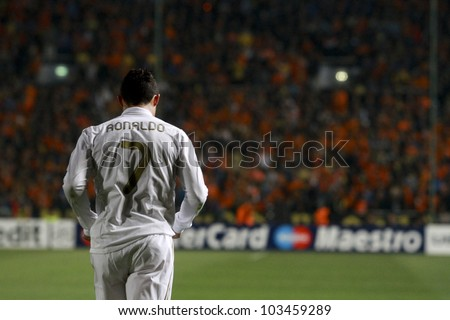 NICOSIA,CYPRUS - MARCH 27: Ronaldo of Real Madrid during the UEFA Champions League quarter-final match between APOEL and Real Madrid at GSP Stadium on March 27, 2012 in Nicosia, Cyprus. - stock photo