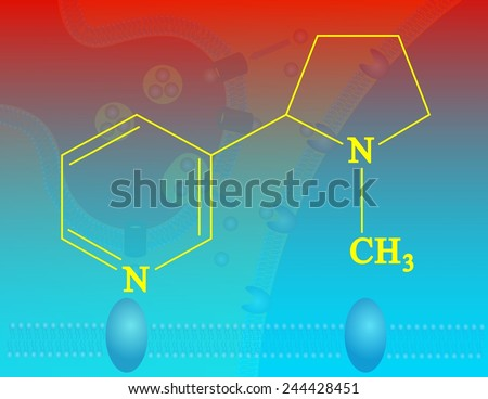 Nicotin molecular structure - stock photo
