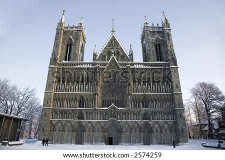 Nidarosdomen, a famous cathedral, in trondheim - Norway