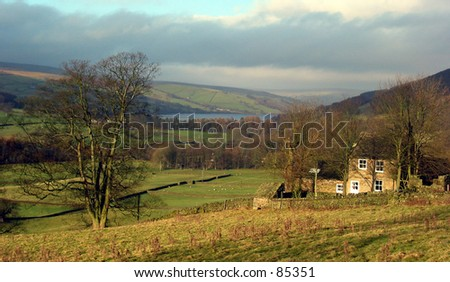 Nidderdale, North Yorkshire.  View down valley, with farmhouse