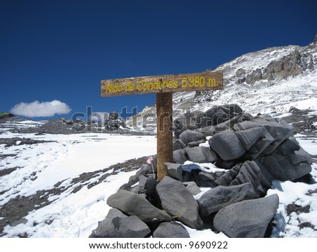 Nido de Condores camp above Plaza De Mulas Base Camp, Aconcagua - stock photo