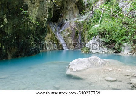 Nidri waterfalls on Lefkada island in Greece