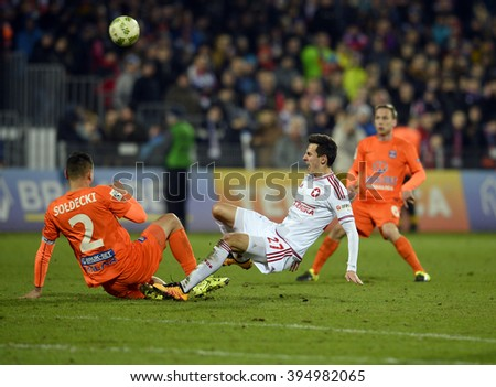 NIECIECZA, POLAND - MARCH 14, 2016: T-Mobile Extra League Polish Premier Football League Termalica Bruk Bet Nieciecza - Wisla Krakow