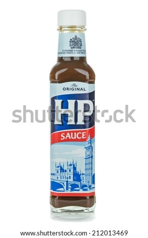 NIEDERSACHSEN, GERMANY AUGUST 20, 2014: A glass bottle of HP Brown Sauce on a white background - stock photo
