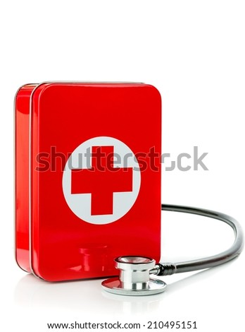 NIEDERSACHSEN, GERMANY AUGUST 10, 2014 - A metal first aid tin with stethoscope on a white background