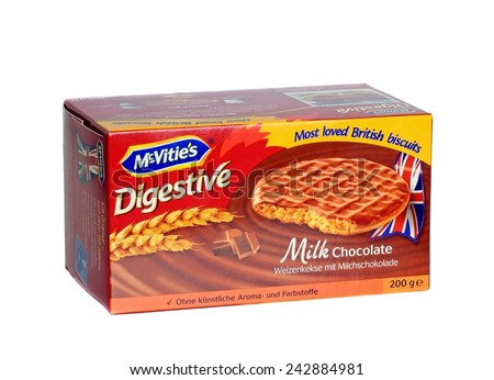 NIEDERSACHSEN, GERMANY JANUARY 10.01.2015: A box of McVities milk chocolate digestive biscuits in boxes for the German market on a white background  - stock photo