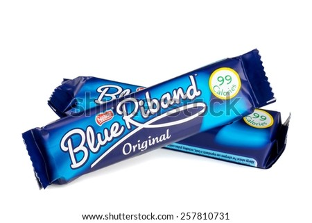 NIEDERSACHSEN, GERMANY  - MARCH 04, 2015: Two Nestle Blue Riband chocolate wafer biscuits on a white background - stock photo