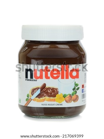 NIEDERSACHSEN, GERMANY SEPTEMBER 13, 2014: A glass jar of Ferrero Nutella chocolate spread on a white background - stock photo