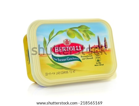 NIEDERSACHSEN, GERMANY SEPTEMBER 21, 2014: A tub of Bertolli olive oil margarine on a white background for the German market - stock photo