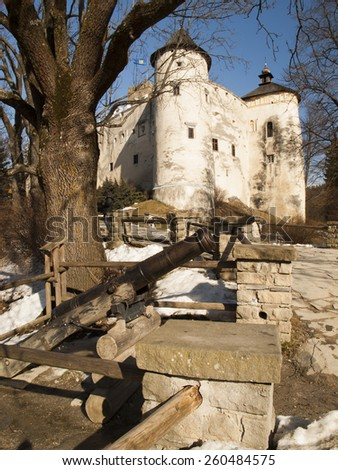 NIEDZICA, POLAND 2015 February 21: Niedzica Castle at Czorsztyn Lake in Poland. The view and the ships of early spring - stock photo