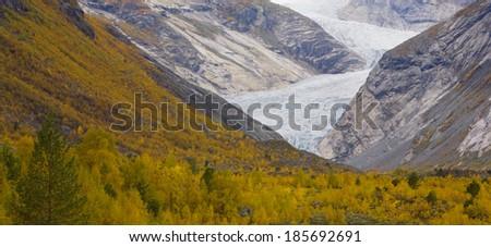 Nigardsbreen Glacier, Jostedalsbreen National Park, Norway - stock photo