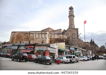 NIGDE, TURKEY - JANUARY 31: Nigde Castle and watch tower at city of Nigde on January 31, 2015 in Nigde, Turkey. Nigde at Central Anatolia in Turkey. - stock photo