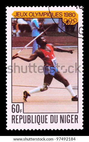 NIGER - CIRCA 1980: stamp printed by NIGER, shows javelin-throwing, series Olympic Games in Moscow 1980, circa 1980 - stock photo