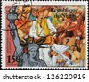 NIGER - CIRCA 1976: stamp printed in Niger shows Statue of Liberty and Joseph Warren, martyr of Bunker Hill, circa 1976 - stock photo