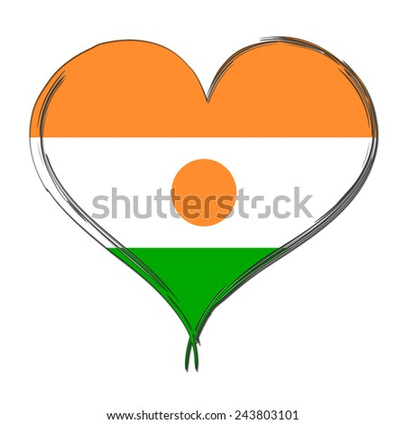 Niger 3D heart shaped flag - stock photo
