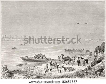Niger river ferry, old illustration. Created by Rouargue after Barth, published on Le Tour du Monde, Paris, 1860 - stock photo
