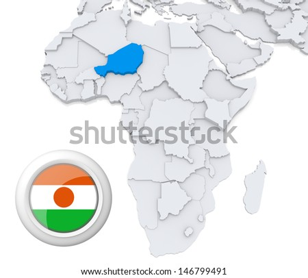 Niger with national flag - stock photo